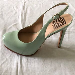 Mint green patent leather platform stiletto slings